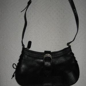 M. London Genuine Leather Black Shoulder Bag